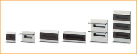 Распределительные шкафы (боксы) с прозрачной дымчатой дверцей Estetica ABB