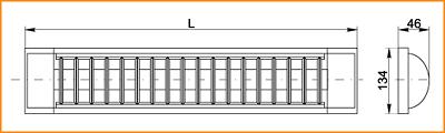 ЛПО 3017 с решеткой - габаритные размеры