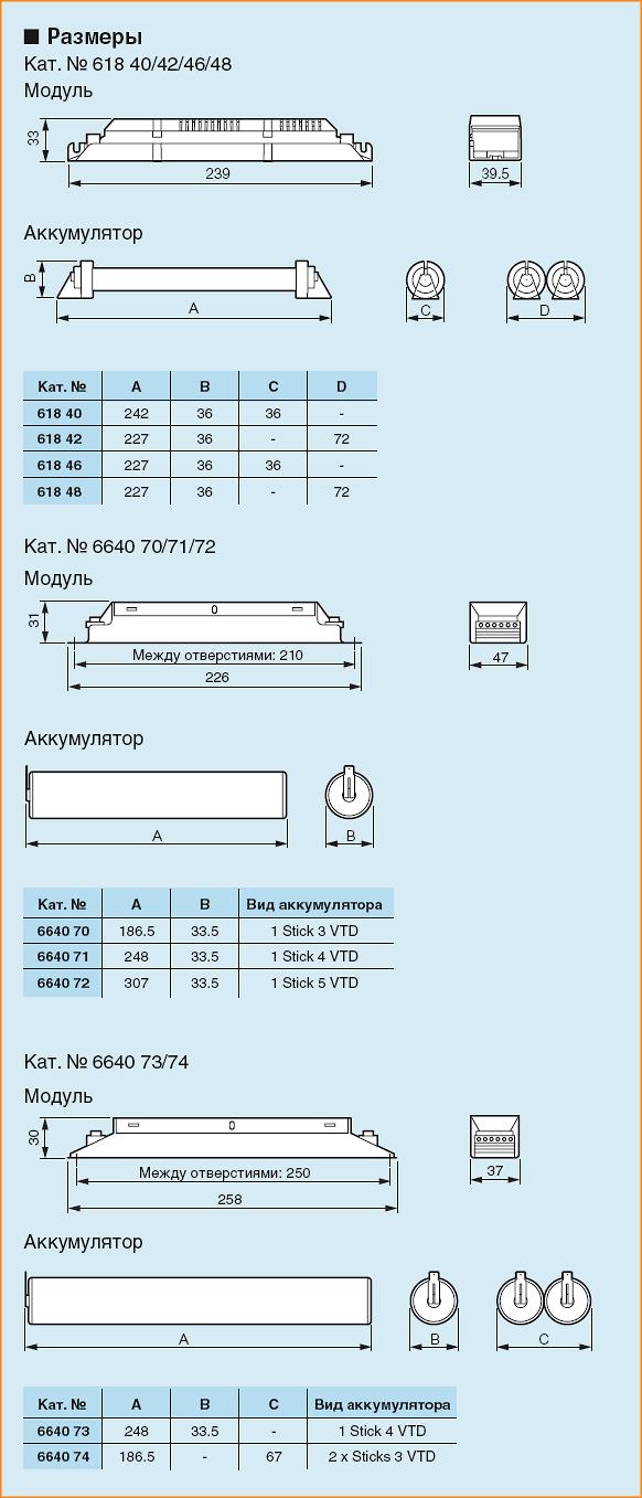 Размеры блоков аварийного питания для светильников эвакуационного освещения LEGRAND