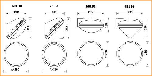 NBL 90-93 - габаритные размеры